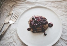 Dirty-Chai Pancakes with Blueberry-Pomegranate Compote Recipe