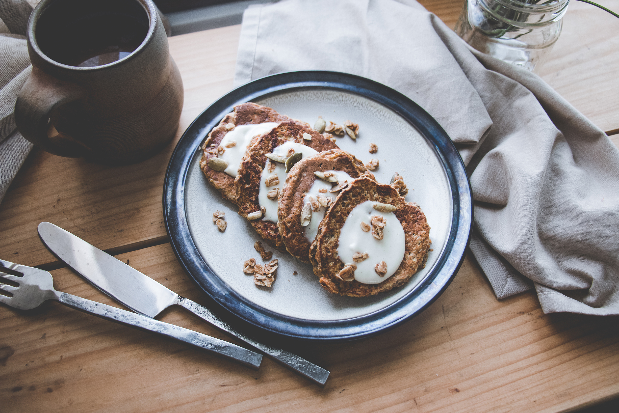 Carrot Cake Pancakes with Key Lime Cream