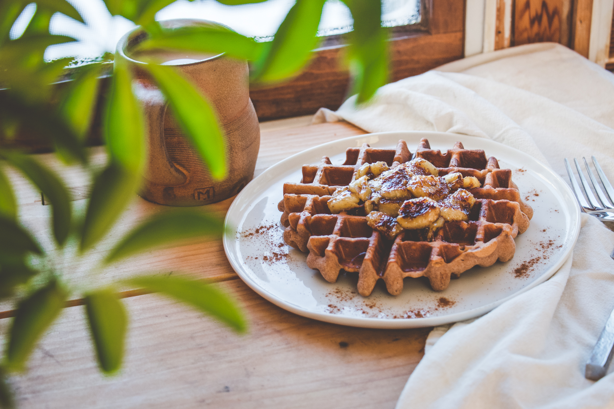Fluffy Gluten-Free Waffles with Caramelized Bananas