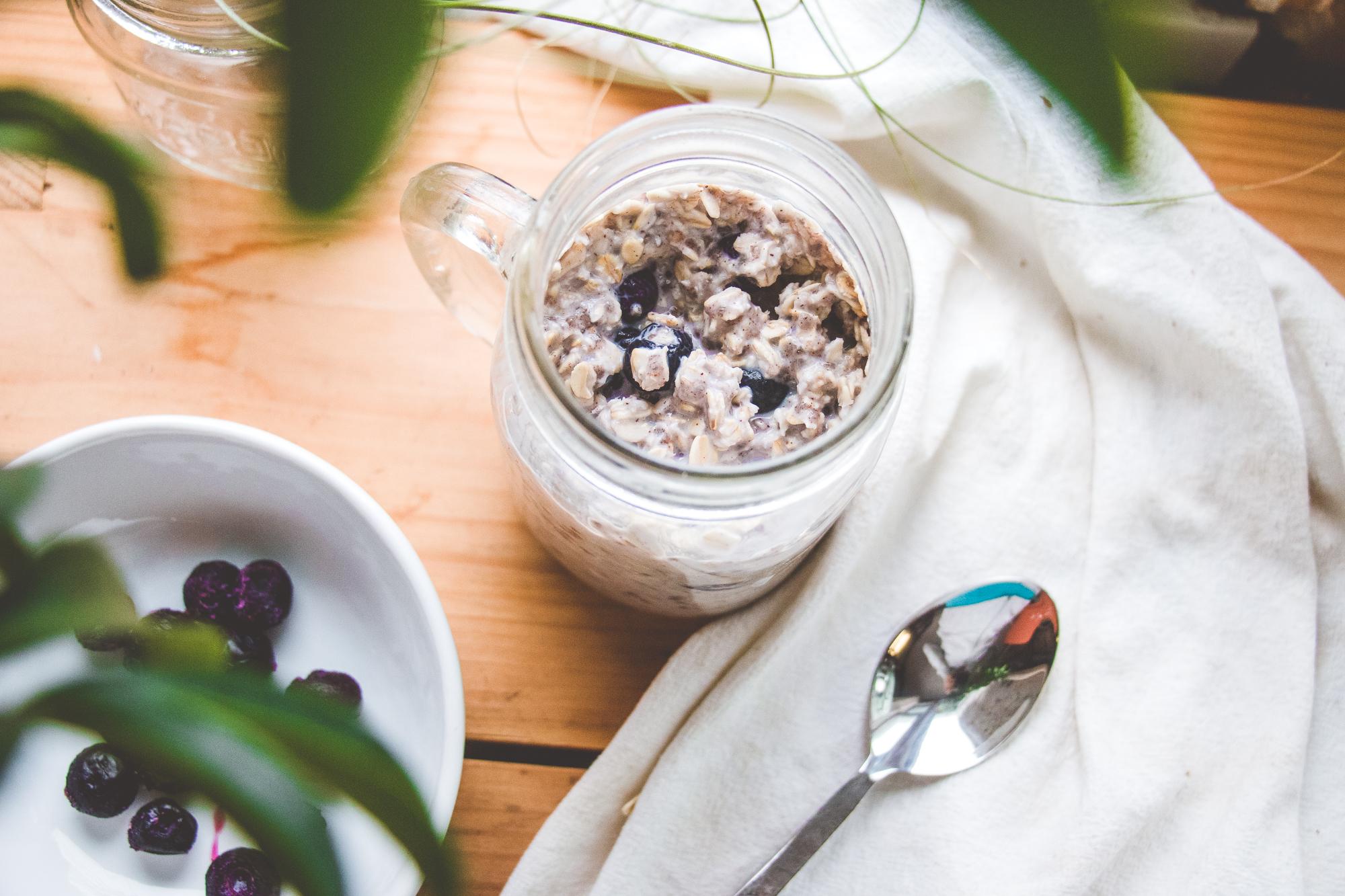 Blueberry Almond Butter Overnight Oats