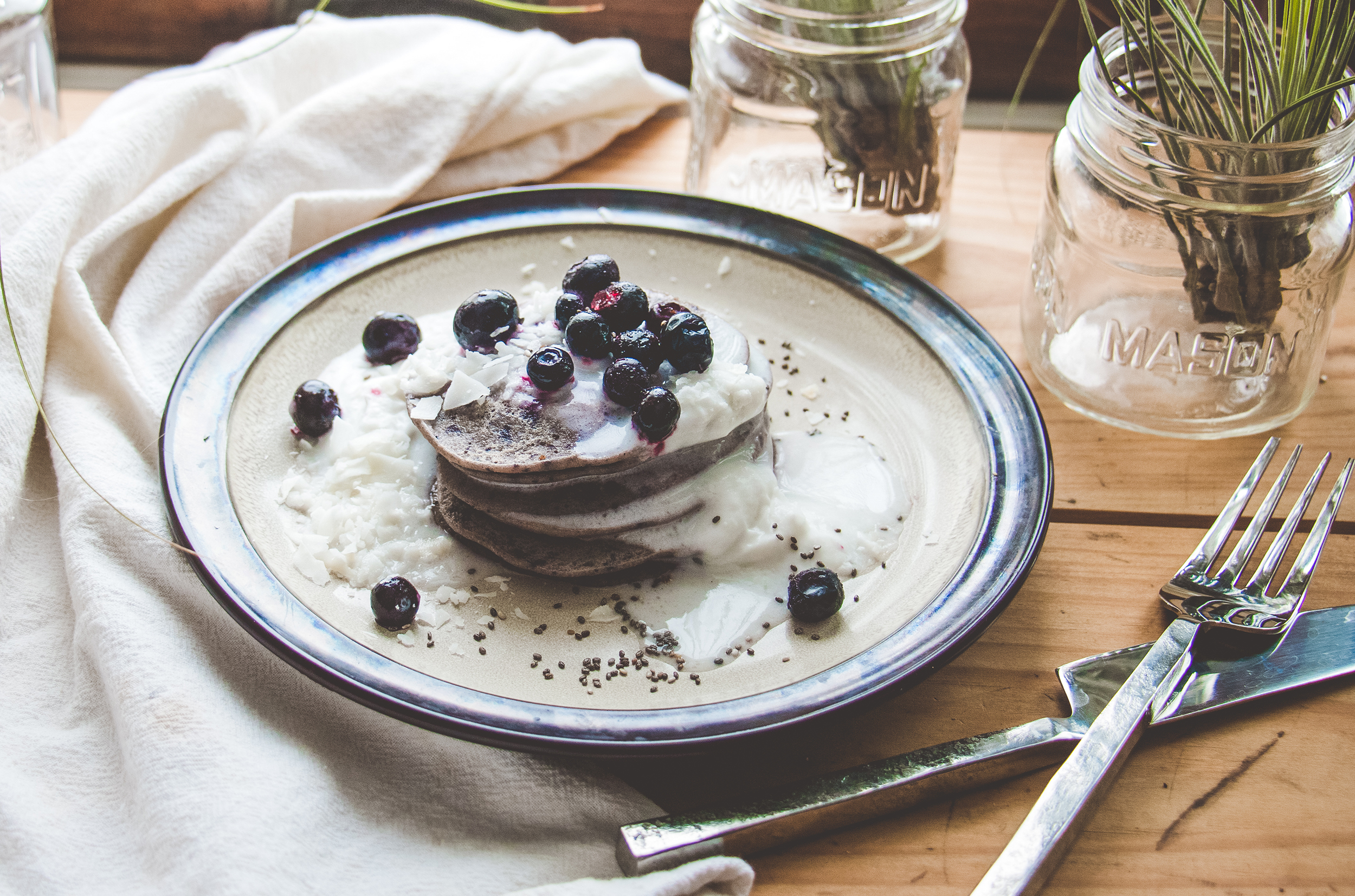 Blueberry-Coconut Pancakes