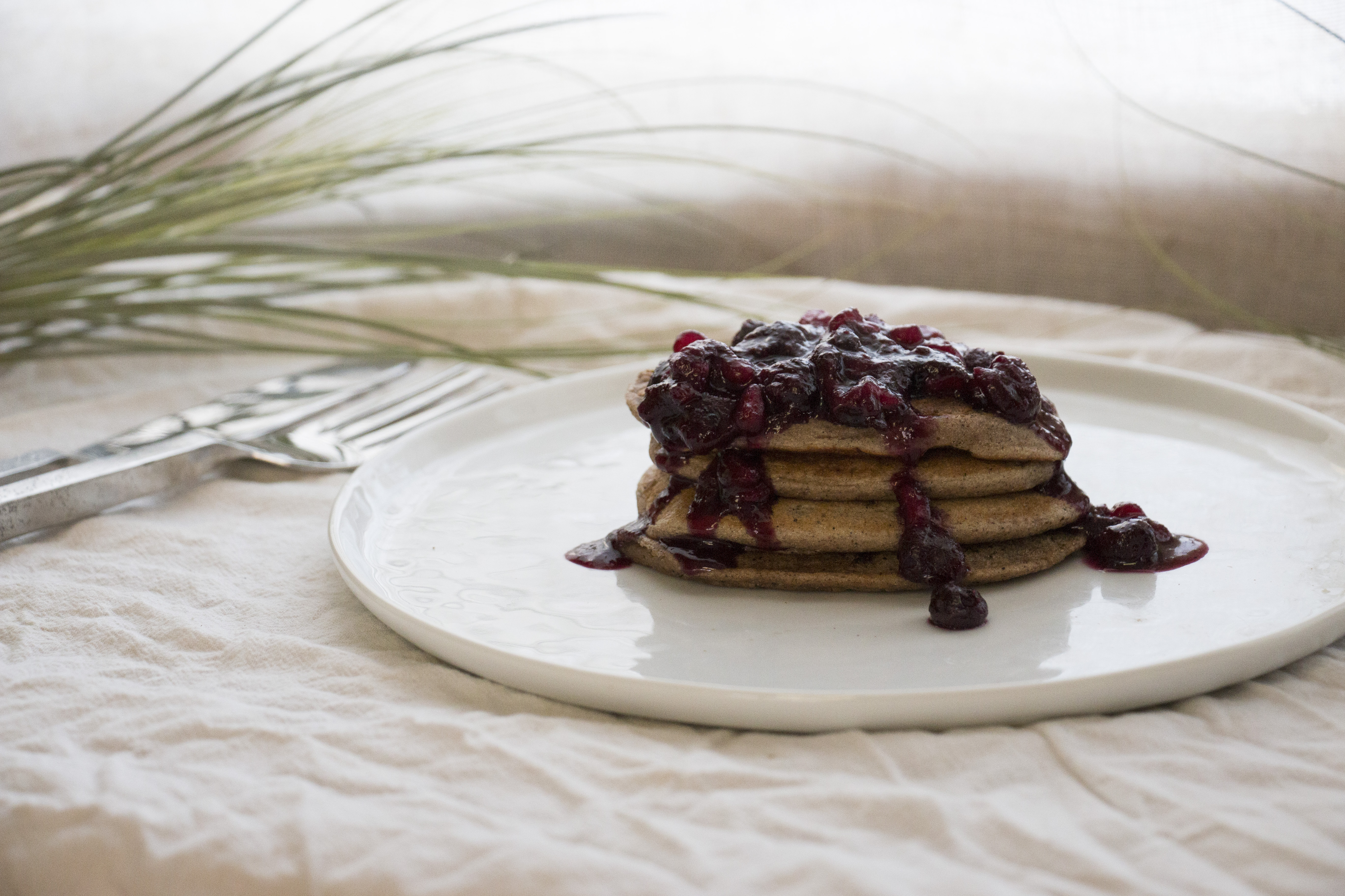 Dirty-Chai Pancakes with Blueberry-Pomegranate Compote